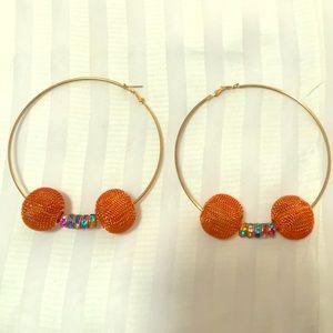 Jewelry - Handmade Beaded Gold Tone Rainbow & Orange Earring